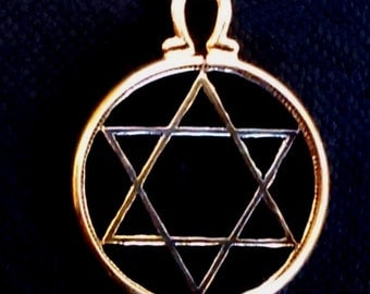 Jewish Six Pointed Star of David (Magen David) Religious Zionist Hexagram Hebrew Cut Coin Pendant Necklace 24 Carat Gold and Silver Plated