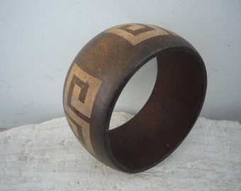 Vintage Massive Bangle, Unique Wooden Bracelet, Vintage Wooden Jewelry from 1980s