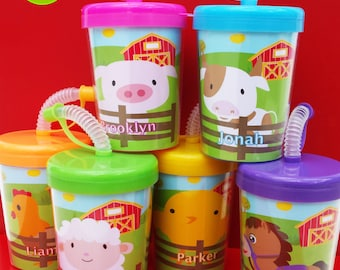 Farm Animals Personalized Party Favor Cups Set of 6, Animals, Party Favors, Pig, Sheep, Chick, Rooster, Horse, Cow