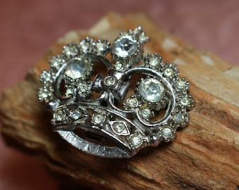 Oh for a RHINESTONE CROWN, Vintage, 1.5 inch,Silver tone metal, Royal Queen for  Day!