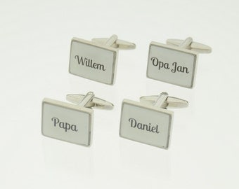 Individual cufflinks with own name-a nice present/gift for a man