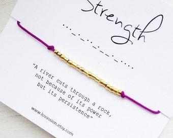 STRENGTH - Morse Code Bracelet