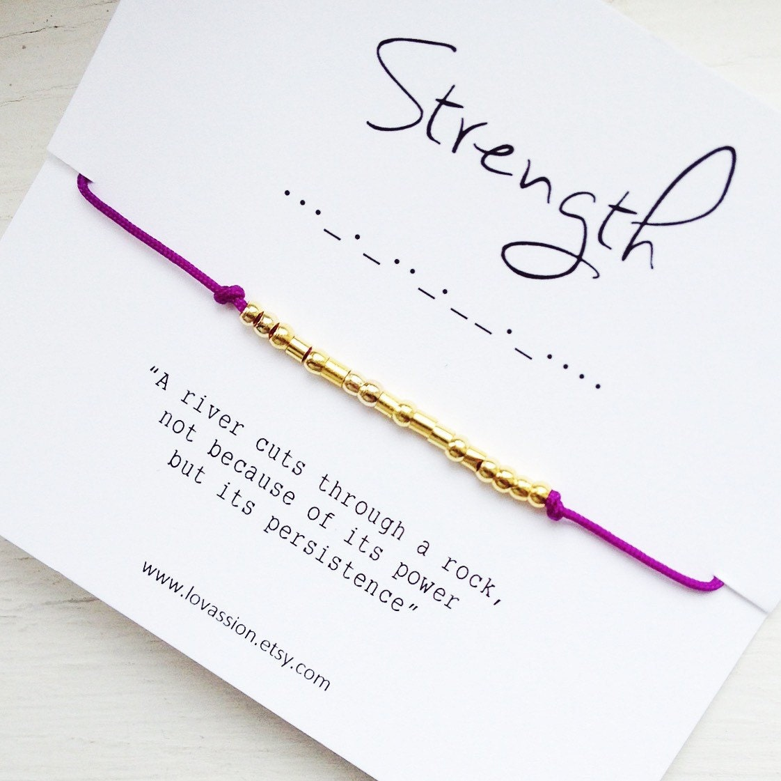 Persistence Motivational Quotes: STRENGTH Morse Code Bracelet