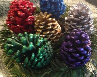 Festive Glitter Pinecones