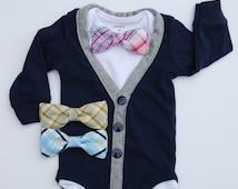 Navy Cardigan Onesie and Plaid bow tie set