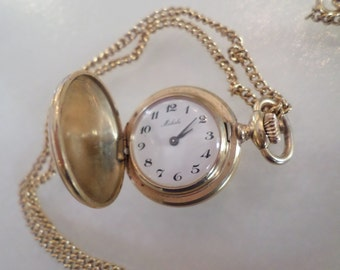 Vintage Gold Tone Linked Chain with Watch Pendant.