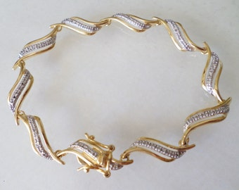 Sterling Silver 925 Stamped and Signed, Vermeil Simulated Rhinestones Tennis Bracelet.