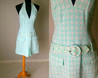 SALE 25% OFF!!! NWT Shelli Segal Neiman-Marcus 90s does 60s Turquoise and White Halter Mini Dress || Vintage Size 6