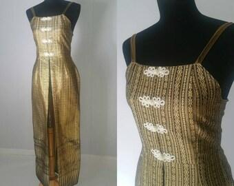 SALE 25% OFF!!! 70s Asian Inspired Rare Golden Tunic Vest Dress