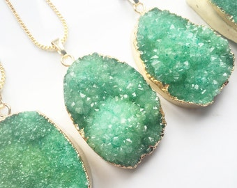 FREE UK SHIPPING - Beautiful Green Druzy Pendant - Necklace - Raw Rough - Natural Stone - Crystal