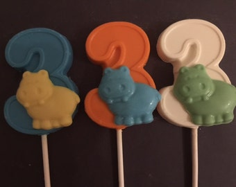 "NUMBER THREE ""HIPPO"" Chocolate Lollipop(12 qty) - Hippo Favors/ Party Favors/Safari Birthday/Zoo Animals/Children's Zoo Party/Third Birthday"
