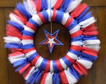 4th of July Glitter Star Tulle Celebration Wreath-Patriotic Star Wreath-Red,White,and Blue Sparkle Wreath