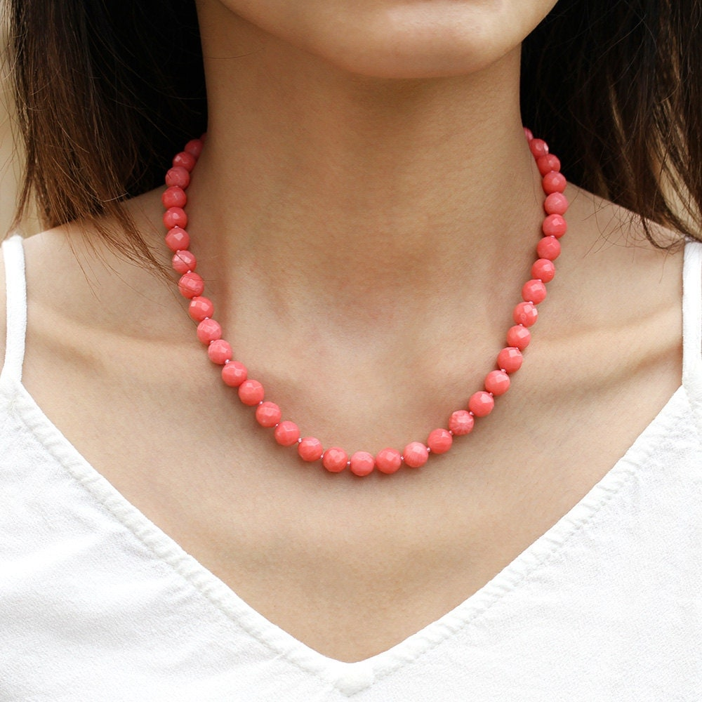 Hot Pink Coral Necklace Genuine Beaded Coral Necklace Hot