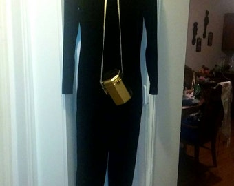 Cache' size S black velvet mock turtleneck zipper back catsuit