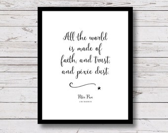 Peter Pan, Faith, Trust, Pixie Dust, Wall Art Print, printable wall art, nursery decor, Peter Pan Quote, kids room decor, black and white