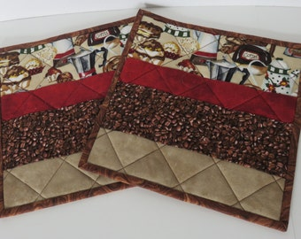 Quilted Trivet, Red Brown Beige Coffee Themed Quilted Trivet, Quilted Pot Holder, Set of 2, Housewarming Gift, Quiltsy Handmade