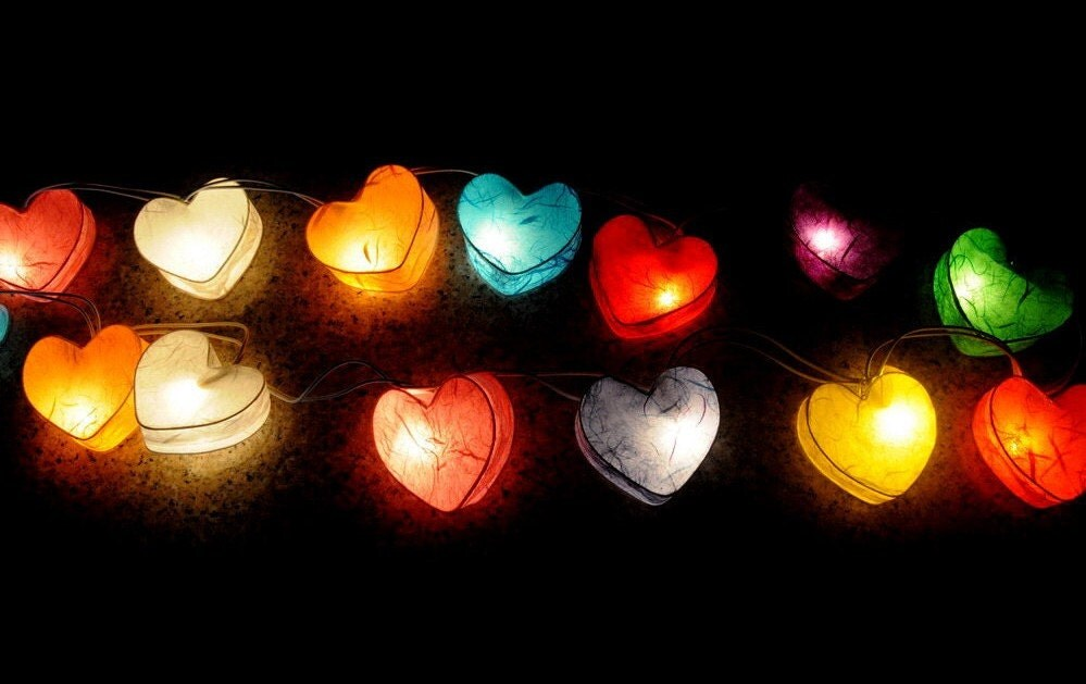 Rainbow Heart String Lights by Envypants on Etsy