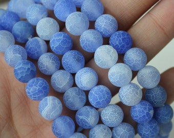 8mm Blue Agate, Frosted Agate, Round Beads, Natural Gemstone, Mala Beads Supply, Light Blue Agate, Round Agate,