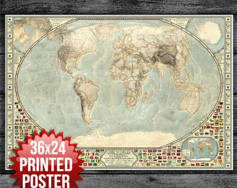 "World Map Poster 36"" x 24"" w/ Country Flags,  map of the world, High Quality Detailed map Wall Art, Great Gift Christmas Xmas,"