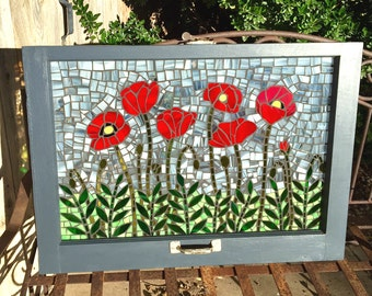 Vintage Window Red Poppies Stained Glass Mosaic - Repurposed - Custom - Wall hanging