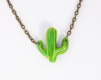Necklace Cactus (Polymer Clay) Handmade Jewelry Nature Plants