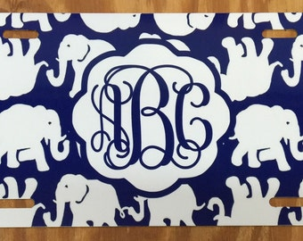 Lilly Pulitzer monogram license plate Lilly pulitzer inspired elephant Monogram License plate