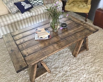 Sawhorse Table Etsy - Charming vintage diy sawhorse coffee table