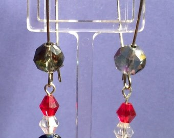 Red, clear and Cobalt Blue earrings