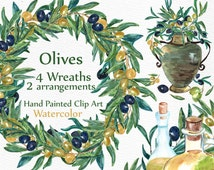 """Olives Watercolor  Clipart: """"WREATHS CLIPART"""" Floral clipart Hand painted clipart olives wreaths wreath and arrangements DIY invites"""