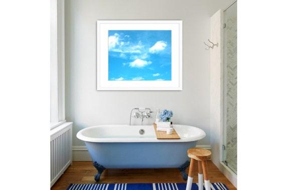 Bathroom Wall Decor, Sky Photograph, Beach Wall Art, Sky Picture, Beach Cottage Decor, Blue Sky, Clouds, Beach Wall Art, Light Blue, Sky.