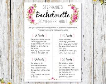 Personalised Bridal Scavenger Hunt Printable, Pink Floral