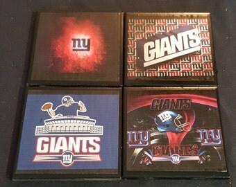 NY Giants Ceramic Tile Drink Coasters  / NY Giants Coaster Set