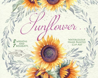 Watercolor Flower clipart - Sunflower..., wreaths & bouquets, Hand painted , DIY Clip Art, greeting card, wedding invitations, png file