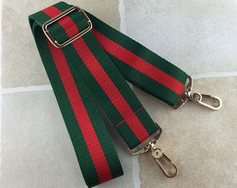 Red&Green Webbing Purse Strap 60 inch long