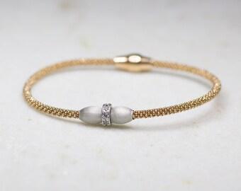 Rose gold & Silver Bangle, Cubic Zirconia, Two Tone, Bracelet