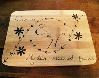 Personalised initial board, valentines gift, couples monogrammed cheese board, housewarming gift, wedding gift, cutting board chopping board