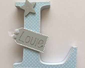 baby boy,pale blue white spots,wooden letter,wooden tag,glitter name,grey star,free standing,nursery decor,wall hanging,baby shower,