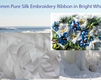 5 meters of 15 mm 100% pure silk taffeta WHITE ribbon.