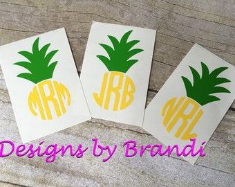 Pineapple Monogram, Pineapple Decal, Pineapple Yeti, Yeti Decal, Pineapple Monogram Car Decal