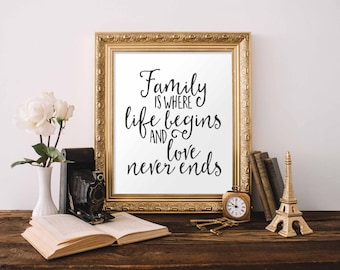 Family Printable Wall Art, Family is where life begins and love never ends printable quote print black and white printable art digital art