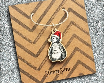 Penguin Necklace Silver Chain, cute Christmas jewellery featuring wooden penguin in Santa hat charm. Ideal Xmas gift for best friend, sister