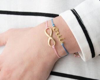 Infinity bracelet, gold infinity bracelet, infinity charm, love infinity, eternal love, friendship forever, best friends
