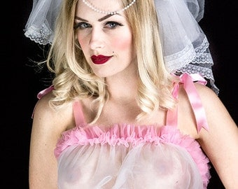 Wedding Veil White with Lace and Pearl Hen Party Veil