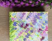 Lavendar flower, 4x4 inch original oil painting