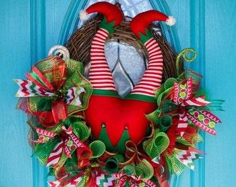 SALE: Christmas Elf Wreath, Christmas Elf Butt Wreath, Elf Booty Wreath, Christmas Grapevine Wreath, Whimsical Christmas Wreath, Elf Butt Wr