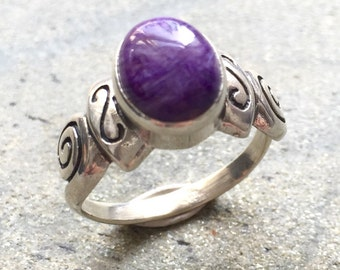 Charoite Ring, Charoite, Purple Ring, Purple Stone, Vintage Ring, Purple Stone Ring, Solid Silver Ring, Healing Stones, Sterling Silver Ring