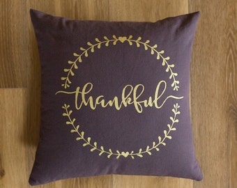 16x16 Plum & gold Thankful screen printed throw pillow cover