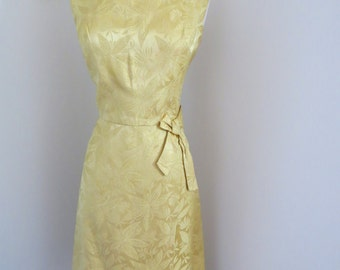 1950s Vintage Gold Brocade Vintage Dress With Bow Detail And Faux Wrap Size Small