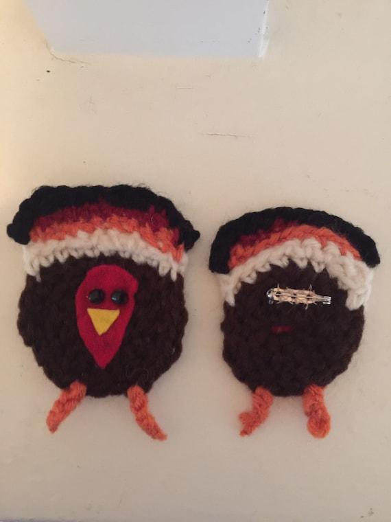 Turkey pin , crochet turkey pin, crochet turkey broach