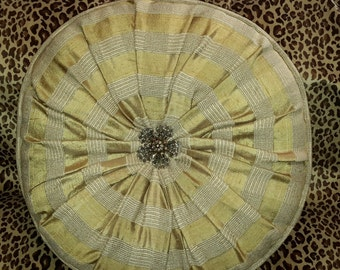 Gold and Cream Silk Designer Pillow - Size 16 in. Round Pillow